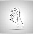 cartoon hand in ok gesture simple outline icon on vector image