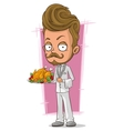 Cartoon handsome waiter in white suit vector image vector image