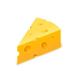 cheese cheddar piece slice block swiss vector image