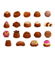 chocolate candies icons sweet desserts set vector image