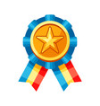 colored rosette with gold medal vector image vector image