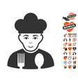 cook icon with dating bonus vector image