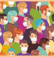 coronavirus people in medical mask crowd vector image vector image