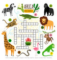 crossword africa animals kids zoo african vector image vector image