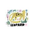 Cute leopard flat hand drawn