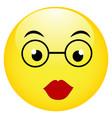 cute smiling emoticon wearing eyeglasses emoji vector image vector image