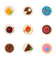 doughnut icons set cartoon style vector image