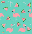 flamingo set seamless pattern exotic tropical vector image vector image