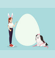 girl and dog on easter day with copyspace vector image
