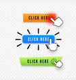hand cursor over button with text click here web vector image