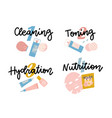 icon set for skincare infographic four steps face vector image vector image