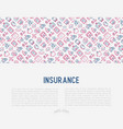 insurance concept with thin line icons vector image vector image