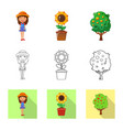 isolated object of farm and agriculture sign set vector image