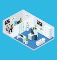 isometric veterinary clinic concept vector image vector image