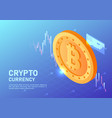 isometric web banner golden bitcoin with virtual vector image