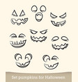jack o lantern pumpkin faces glowing on white vector image vector image