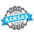 Kansas round ribbon seal vector image