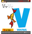 letter v from alphabet with cartoon veiltail fish vector image vector image