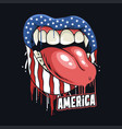 lips in dripping color american flag vector image vector image
