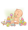 little baboy in diaper sitting playing with vector image vector image