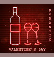 neon valentine day card with wine bottle and vector image vector image
