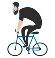 on white background of a cyclist dressed in black vector image