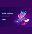 online shopping isometric concept for mobile app vector image vector image