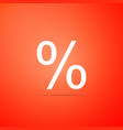 percent symbol discount icon on orange background vector image vector image