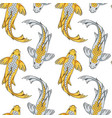 seamless pattern with gold silver koi fish carps vector image vector image