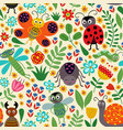 seamless pattern with insect and plants vector image vector image