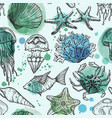 seamless watercolor pattern with sea life vector image vector image