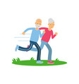 senior couple running together pensioner people vector image
