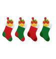 set christmas boots stocking with gifts vector image