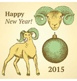 Sketch New Year ram and ball in vintage style vector image vector image