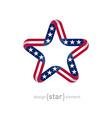 star with american flag colors and symbols design vector image vector image