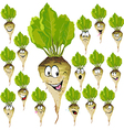 sugar beet cartoon with many expressions vector image vector image