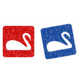 swan grunge textured icon vector image vector image