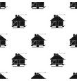 technical drawing of house icon in black style vector image vector image
