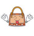 tongue out hand bag mascot cartoon vector image vector image