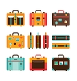 Travel bag icon set Colorful Suitcase collection vector image