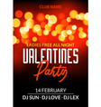 valentine day party design card banner with bokeh vector image vector image