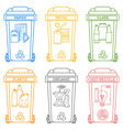 various colors outline separated garbage bins vector image vector image