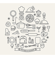 Cooking Foods and Kitchen outline icons set vector image