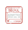 airport border control stamp admitted seoul sign vector image vector image