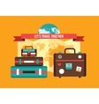 Background with Bag Suitcases World map Vacation vector image vector image