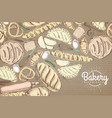 bakery background top view of bakery products on vector image