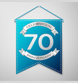 blue pennant with inscription seventy years vector image vector image