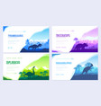 brochures with set of primitive dinosaurs vector image vector image