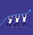 business growth people pointing up trend line vector image