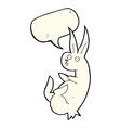 cue cartoon rabbit with speech bubble vector image vector image